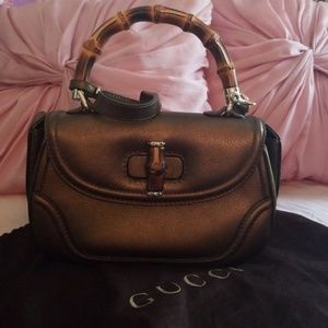 Gucci Bamboo 254884 Brown Leather Satchel